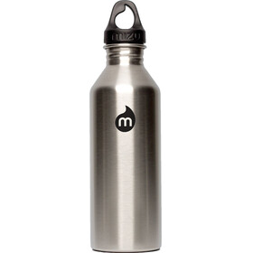 MIZU M8 Bottle with Black Print & Loop Cap 800ml silver